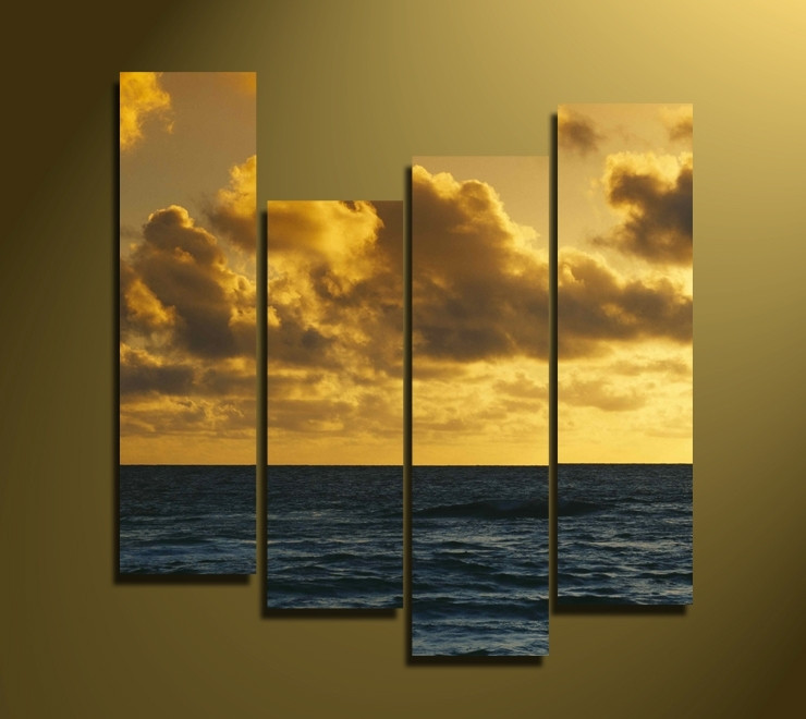 4 Piece Yellow Sky Wall Art, Ocean Canvas Photography, Sea Huge Pictures