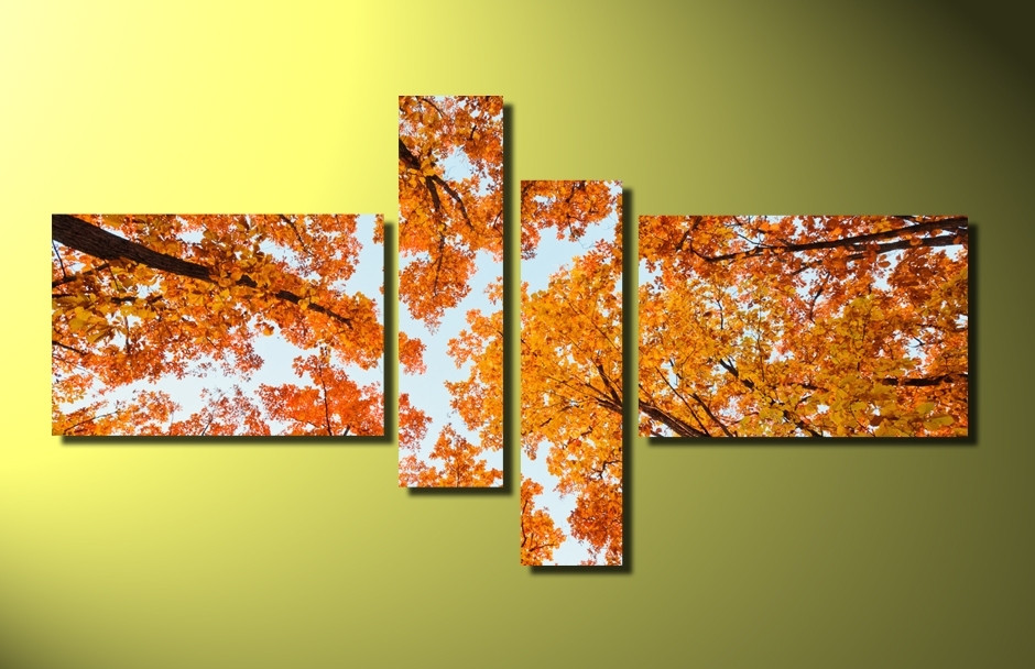 4 Piece Group Canvas, Orange Scenery Wall Decor, Nature Trees Multi ...