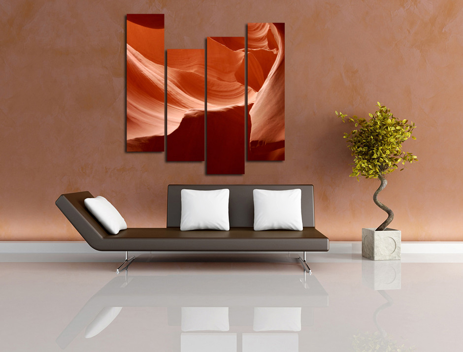 4 Piece Artwork Orange Desert Multi Panel Art Landscape
