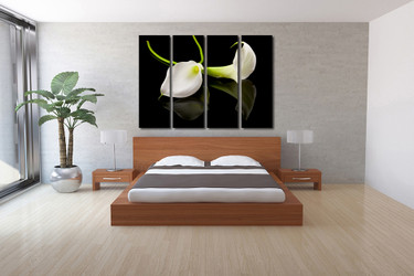 4 piece group canvas, bedroom huge canvas art, floral canvas wall art, flowers multi panel canvas