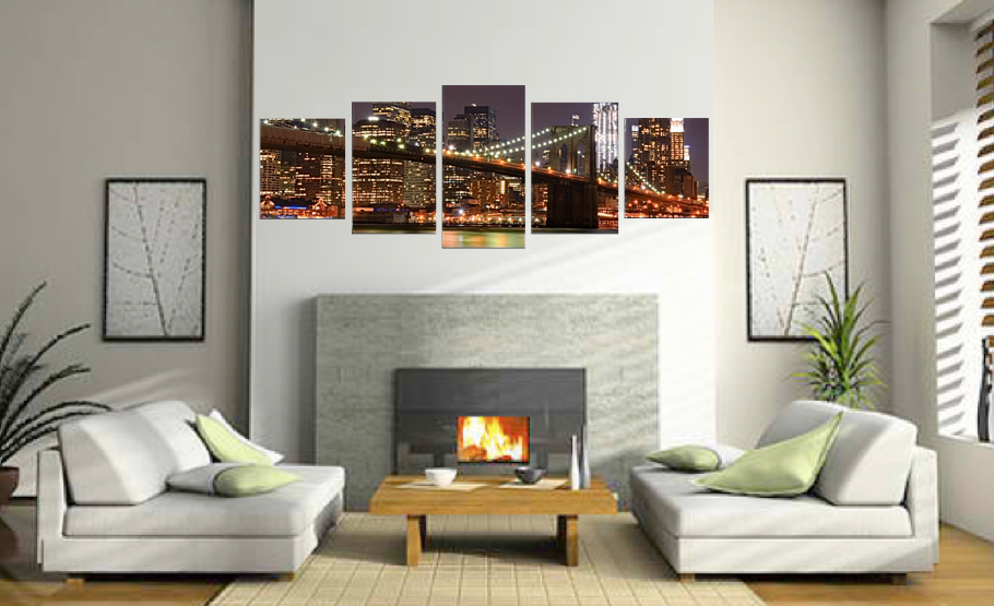 5 Piece Huge Pictures, Dining Room Canvas Wall Art, Night City Art, Brown