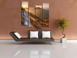 4 piece photo canvas, living room wall decor, landscape huge canvas art, sunrise huge pictures, orange multi panel canvas