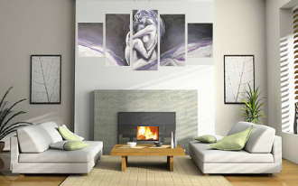 5 piece canvas wall art, living room multi panel canvas, abstract photo canvas, grey art, sensual panoramic canvas photography