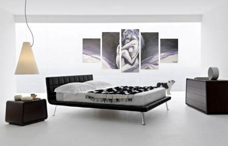 5 Piece Wall Decor, Sensual Abstract Huge Canvas Art, Grey Oil ...