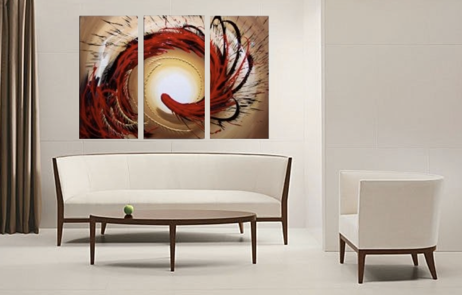 3 Piece Large Pictures, Abstract Contemporary Brown Multi Panel ...