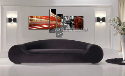 4 piece art, living room multi panel canvas, red canvas print, city huge canvas art, telephone booth huge pictures