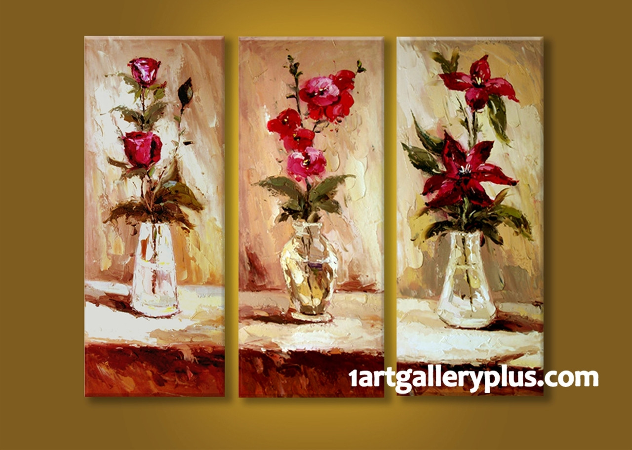 3 Piece Multi Panel Art, Floral Wall Decor, Red Flowers Canvas ...