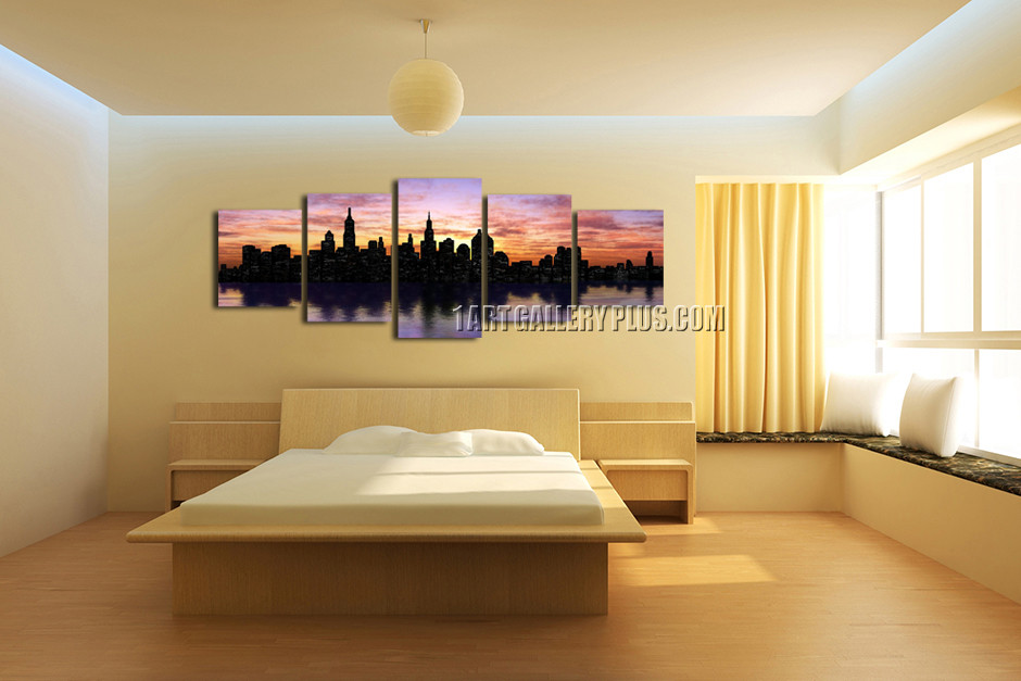5 Piece Panoramic Artwork, Cityscape Purple Wall Decor, New York ...