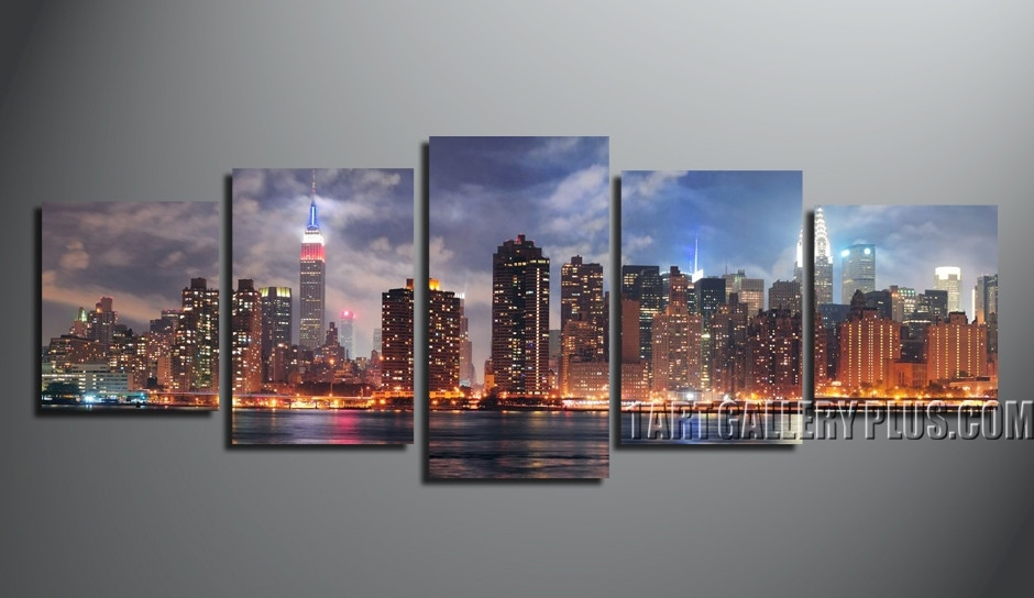 5 Piece Canvas Wall Art, Home Decor, Panoramic Group Canvas, Purple Artwork,