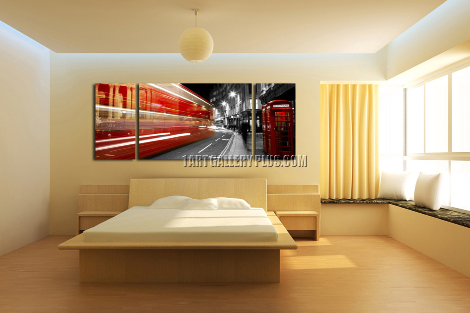 3 Piece Huge Pictures, City Multi Panel Canvas, Telephone Booth Red ...