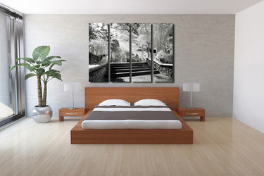 4 piece group canvas, bedroom group canvas, gray multi panel art, scenery wall decor, trees canvas photography