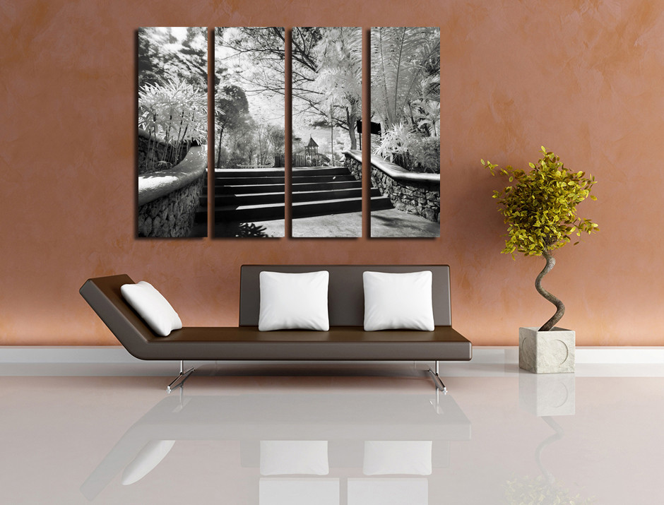 4 piece art living room canvas wall art gray huge canvas art scenery & 4 Piece Canvas Print Grey Large Pictures Scenery Wall Art Trees ...
