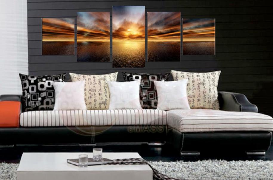 5 Piece Canvas Photography Ocean Artwork Orange Wall Art