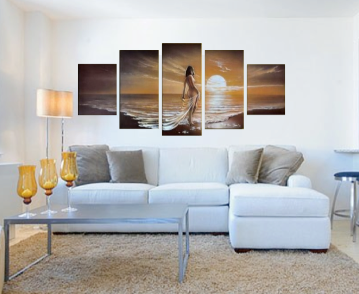5 Piece Art, Living Room Group Canvas, Abstract Huge Canvas Print, Sensual  Panoramic