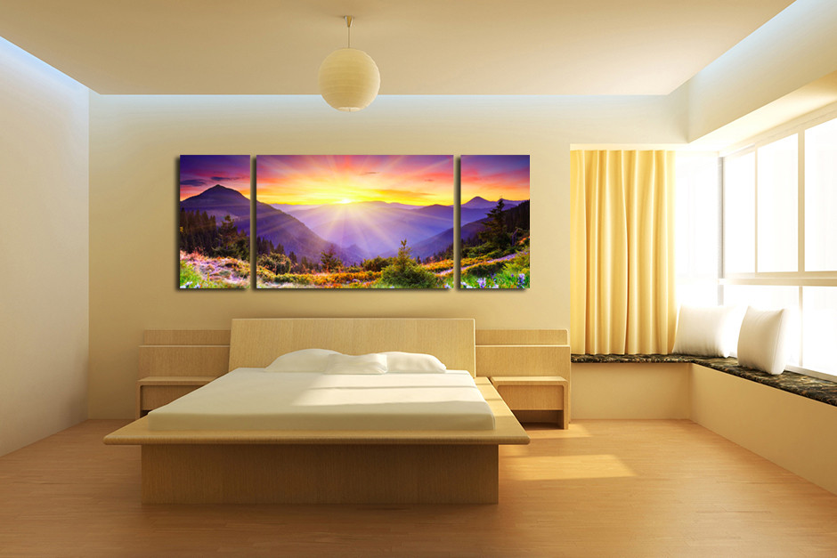 3 Piece Mountain Panoramic Canvas Print, Landscape Multi Panel Art ...