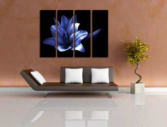 4 piece photo canvas, living room canvas wall art, blue floral art, floral multi panel canvas, flowers decor
