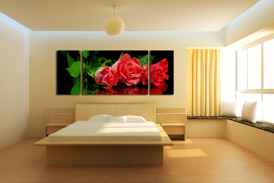 3 Piece Large Pictures, Floral Canvas Photography, Panoramic Red ...