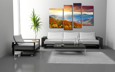 4 piece huge canvas art, living room artwork, landscape group canvas, colorful multi panel canvas, sunshine tree canvas photography