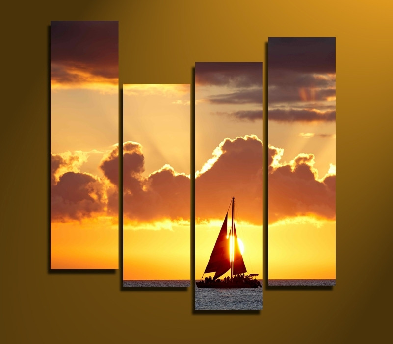 4 Piece Large Canvas, Ocean Sunset Wall Decor, Sailboat Yellow Multi ...