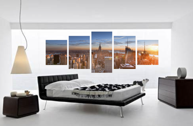 5 piece canvas print, bedroom multi panel art, cityscape art, orange wall decor, panoramic new york city huge canvas print