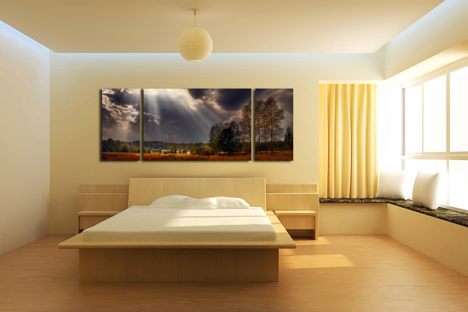 3 Piece Canvas Wall Art, Sunshine Scenery Large Pictures ...