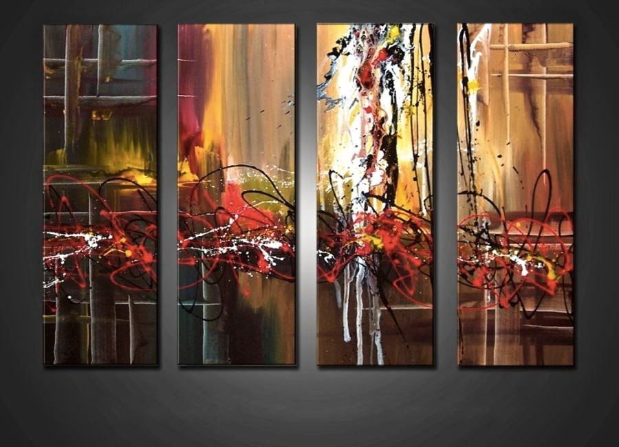 4 Piece Large Pictures, Colorful Abstract Multi Panel Art, Oil ...