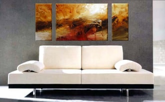 3 piece canvas wall art, living room large pictures, scenery multi panel art, orange wall decor, panoramic canvas photography