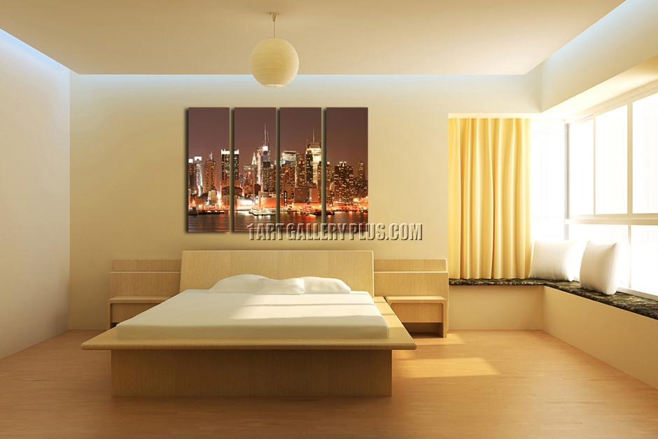 4 Piece New York City Extra Large Wall Art, Inexpensive Canvas ...