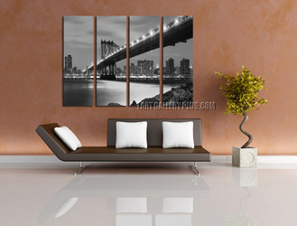 4 piece art, living room huge canvas art, brooklyn bridge photo canvas, grey  huge canvas print, cityscape wall decor