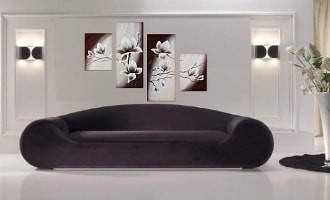 4 piece group canvas, living room large pictures, floral multi panel art, flowers canvas wall art, oil painting huge canvas prin