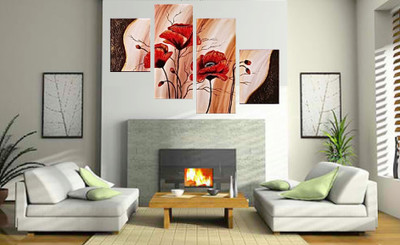4 piece group canvas, living room large pictures, floral multi panel art, flowers canvas wall art, oil painting huge canvas print