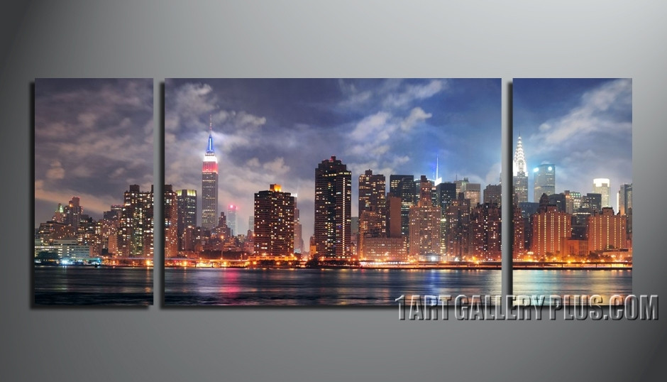 3 Piece Wall Decor, New York City Canvas Photography, Panoramic Blue ...