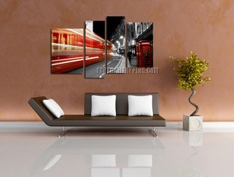4 piece large pictures, living room art, red grey photo canvas, city canvas print, telephone booth huge canvas art