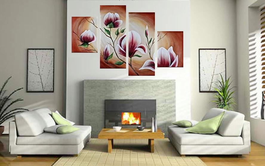 4 Piece Canvas Photography, Floral Decorative Large Pictures, Brown ...