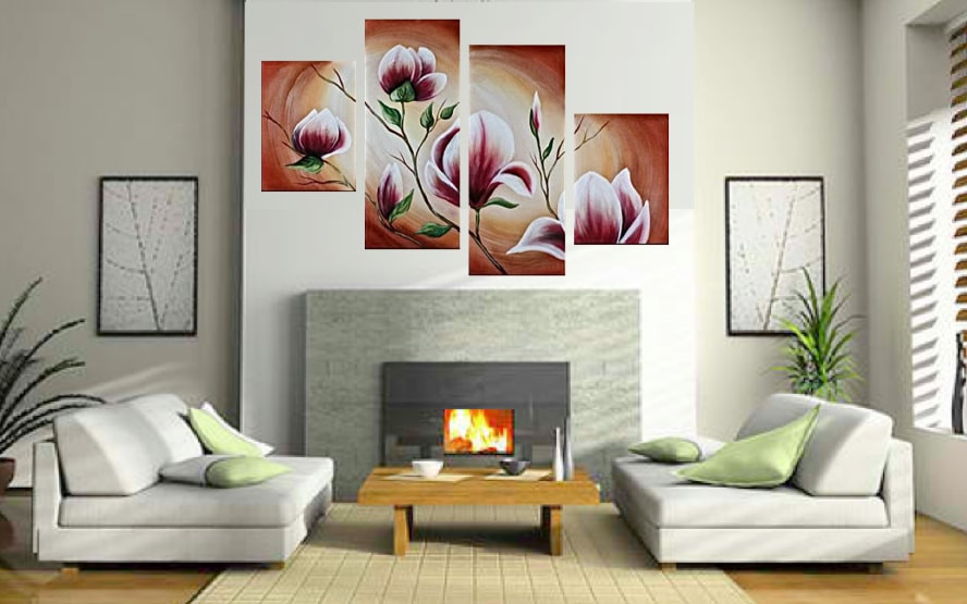 Attractive 4 Piece Art, Living Room Canvas Print, Floral Large Pictures, Flowers Multi  Panel