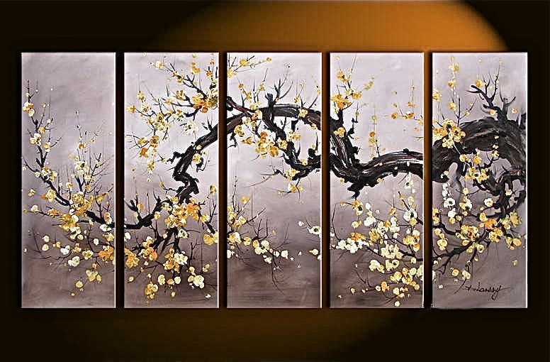 5 piece decor flower large pictures floral brown oil paintings