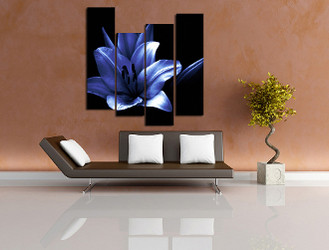 4 piece canvas print, living room wall decor, floral canvas photography, blue photo canvas, floral artwork