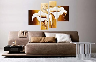 4 piece canvas print, bedroom multi panel canvas, floral artwork, flowers wall decor, oil painting canvas photography