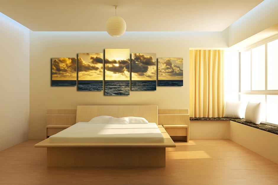 5 Piece Canvas Photography, Yellow Wall Decor, Ocean Multi Panel Art ...