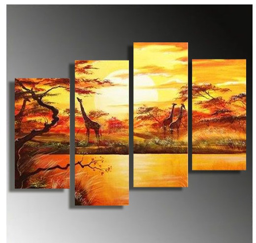 4 Piece Giraffe Canvas Wall Art, Wildlife Scenery Huge Pictures ...