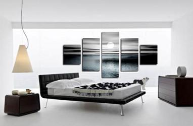 5 piece large canvas, grey ocean group canvas, ocean canvas wall art, ocean canvas photography, ocean decor