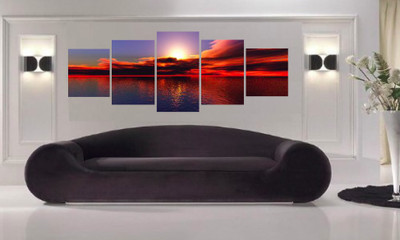 5 piece large pictures, living room canvas wall decor, red ocean canvas art, ocean oil paintings artwork