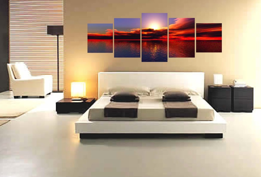 5 Piece Panoramic Wall Decor Bedroom Huge Canvas Art Red Ocean Large Pictures