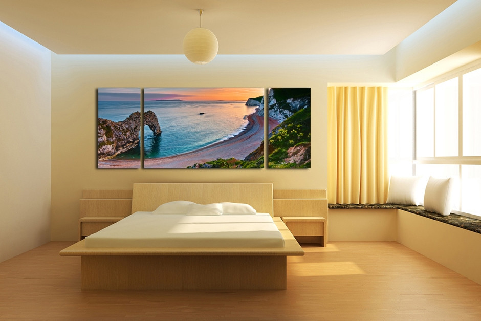 3 Piece Beach Wall Art, Ocean Canvas Photography, Blue Sea Large ...