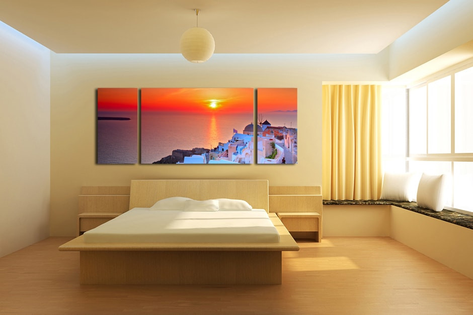 3 Piece Large Pictures, White City Wall Art, Panoramic Orange Sky ...