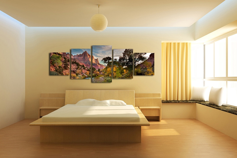5 Piece Mountain Huge Canvas Print, Landscape Wall Decor, Green ...