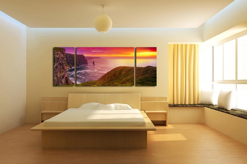 3 Piece Panoramic Wall Decor, Landscape Huge Canvas Art, Mountain ...