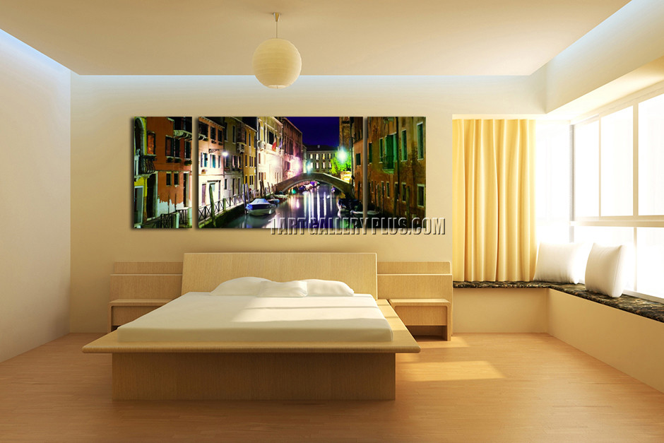 Triptych Huge Canvas Print, Colorful City Multi Panel Art, Boats ...