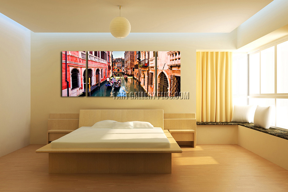Triptych Panoramic Large Pictures, City Multi Panel Canvas, Boats ...