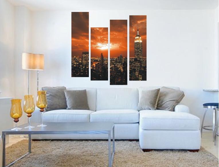 4 Piece Canvas Wall Art Living Room Photo City Orange